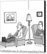 A Psychiatrist To His Patient Who Lies On A Couch Canvas Print by Mark Thompson