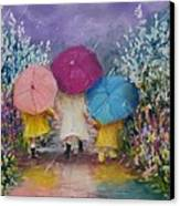 A Rainy Day Stroll With Mom Canvas Print by Jack Skinner