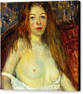 A Red-haired Model Canvas Print by William James Glackens