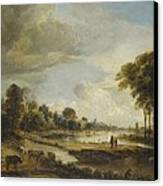 A River Landscape With Figures And Cattle Canvas Print