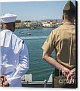 A Sailor And Marine Man The Rails Canvas Print by Stocktrek Images