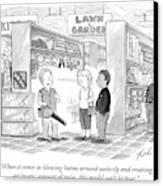 A Salesman Shows A Couple A Leaf Blower Canvas Print by Tom Toro