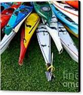 A Stack Of Kayaks Canvas Print by Amy Cicconi