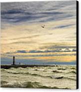 A Stormy Late Afternoon Frankfort Harbor Michigan Canvas Print by Dick Wood