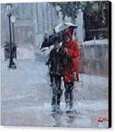 A Stroll In The Rain Canvas Print by Laura Lee Zanghetti