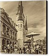 A Sunny Afternoon In Jackson Square Sepia Canvas Print