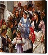 A Venetian Christening Party, 1896 Canvas Print by Henry Woods