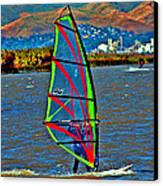 a WindSurfer's Gr8 Ride Canvas Print by Joseph Coulombe
