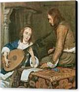 A Woman Playing The Theorbo-lute And A Cavalier Canvas Print by Gerard Terborch