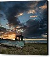 Abandoned Fishing Boat Sunset Landscape Digital Painting Canvas Print by Matthew Gibson