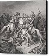 Abishai Saves The Life Of David Canvas Print by Gustave Dore