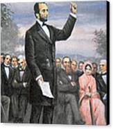 Abraham Lincoln Delivering The Gettysburg Address Canvas Print by American School