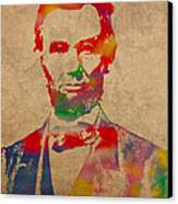 Abraham Lincoln Watercolor Portrait On Worn Distressed Canvas Canvas Print by Design Turnpike