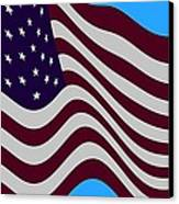 Abstract Burgundy Grey Violet 50 Star American Flag Flying Cropped Canvas Print