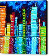Abstract Art Landscape City Cityscape Textured Painting City Nights II By Madart Canvas Print by Megan Duncanson