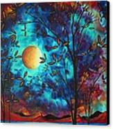 Abstract Art Landscape Tree Blossoms Sea Moon Painting Visionary Delight By Madart Canvas Print