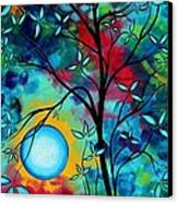 Abstract Art Landscape Tree Blossoms Sea Painting Under The Light Of The Moon I  By Madart Canvas Print by Megan Duncanson