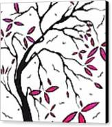 Abstract Artwork Modern Original Landscape Pink Blossom Tree Art Pink Foliage By Madart Canvas Print by Megan Duncanson