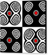 Abstract Black White Red Op Art Minimalism No.217  Canvas Print by Drinka Mercep