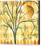 Abstract Harlequin Diamond Pattern Painting Original Landscape Art Moon Tree By Megan Duncanson Canvas Print by Megan Duncanson