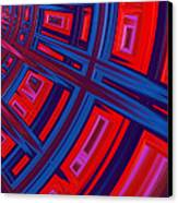 Abstract In Red And Blue Canvas Print by John Edwards
