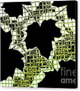 Abstract Leaf Pattern - Black White Lime Green Canvas Print by Natalie Kinnear