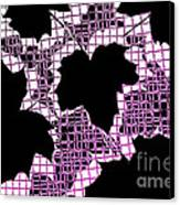 Abstract Leaf Pattern - Black White Pink Canvas Print