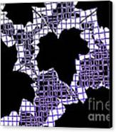 Abstract Leaf Pattern - Black White Purple Canvas Print