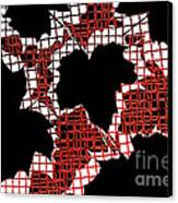Abstract Leaf Pattern - Black White Red Canvas Print