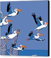abstract Pelicans seascape tropical pop art nouveau 1980s florida birds large retro painting  Canvas Print