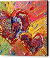 Abstract Valentines Love Hearts Canvas Print by Julia Apostolova