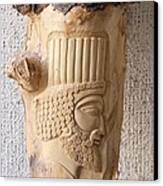 Achaemenian Soldier Relief Sculpture Wood Work Canvas Print