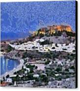 Acropolis Village And Beach Of Lindos Canvas Print