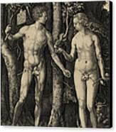 Adam And Eve In The Garden Of Eden - Albrecht Durer 1504 Canvas Print
