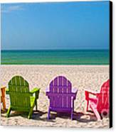 Adirondack Beach Chairs For A Summer Vacation In The Shell Sand  Canvas Print by ELITE IMAGE photography By Chad McDermott