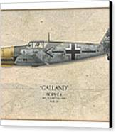 Adolf Galland Messerschmitt Bf-109 - Map Background Canvas Print