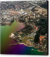 Aerial View Of Bay. Rainbow Earth Canvas Print by Jenny Rainbow