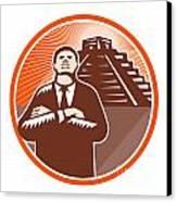 African American Businessman Protect Pyramid Canvas Print by Aloysius Patrimonio
