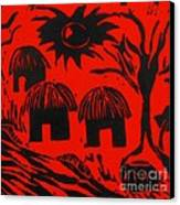 African Huts Red Canvas Print