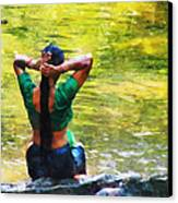 After The River Bathing. Indian Woman. Impressionism Canvas Print by Jenny Rainbow