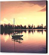 Afterglow  Sunset On Lake Sailboat Panoramic Picture Canvas Print