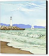 Afternoon Sail Walton Lighthouse Canvas Print by Kerry Van Stockum