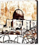 Al-asqa Mosque Palsetine- Mustard Canvas Print by Salwa  Najm
