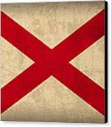 Alabama State Flag Art On Worn Canvas Canvas Print by Design Turnpike