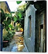 Alleyway In Rhodes Greece Canvas Print