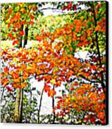 Amber Leaves  Canvas Print by Dianne  Lacourciere