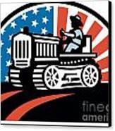 American Farmer Riding Vintage Tractor Canvas Print by Aloysius Patrimonio