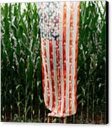 American Flag And A Field Of Corn Canvas Print by Kim Fearheiley