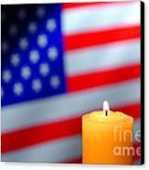 American Flag And Candle Canvas Print
