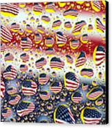 American Flag In Water Drops Canvas Print